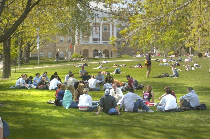 Students on Bascom Hill