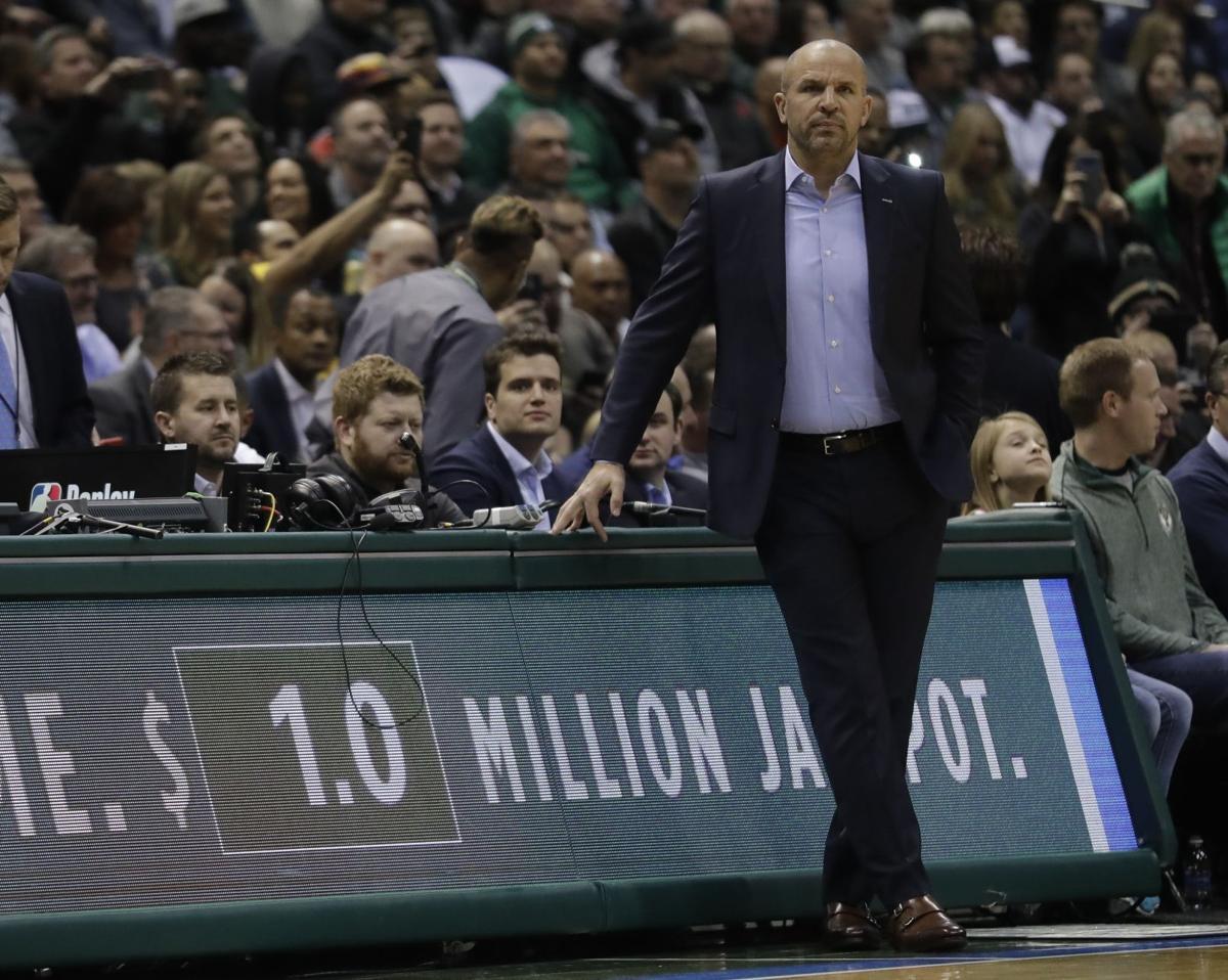 Jason Kidd on sidelines, AP photo