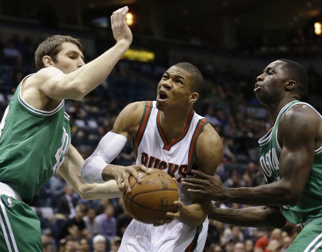 Giannis Antetokounmpo, Tyler Zeller Celtics, AP photo
