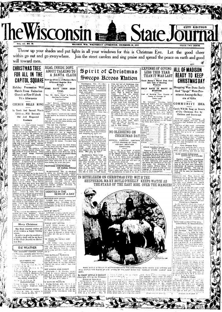 Wisconsin State Journal front page, Christmas 1913