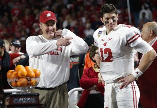 Paul Chryst, Alex Hornibrook, Orange Bowl, AP photo