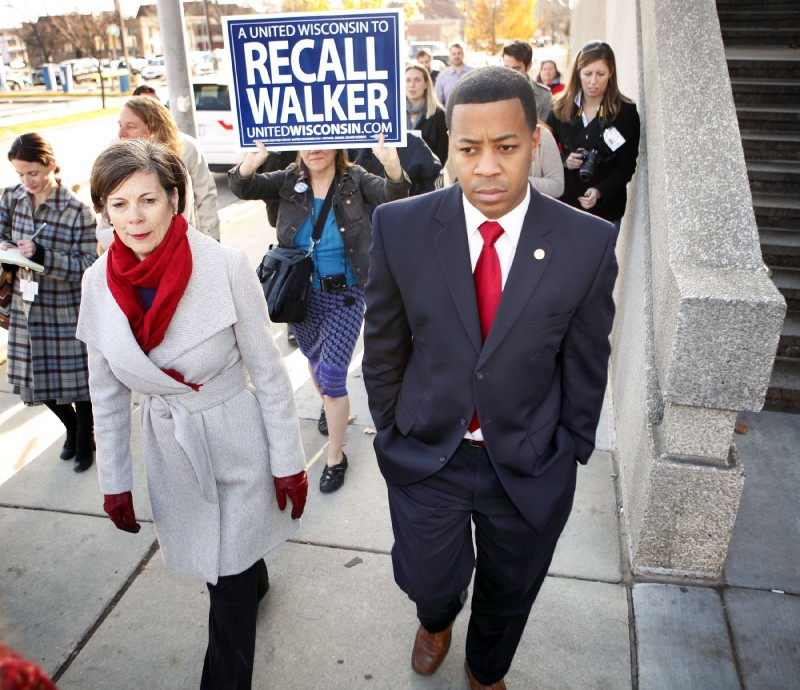 Kathleen Falk and Mahlon Mitchell recall walker file photo