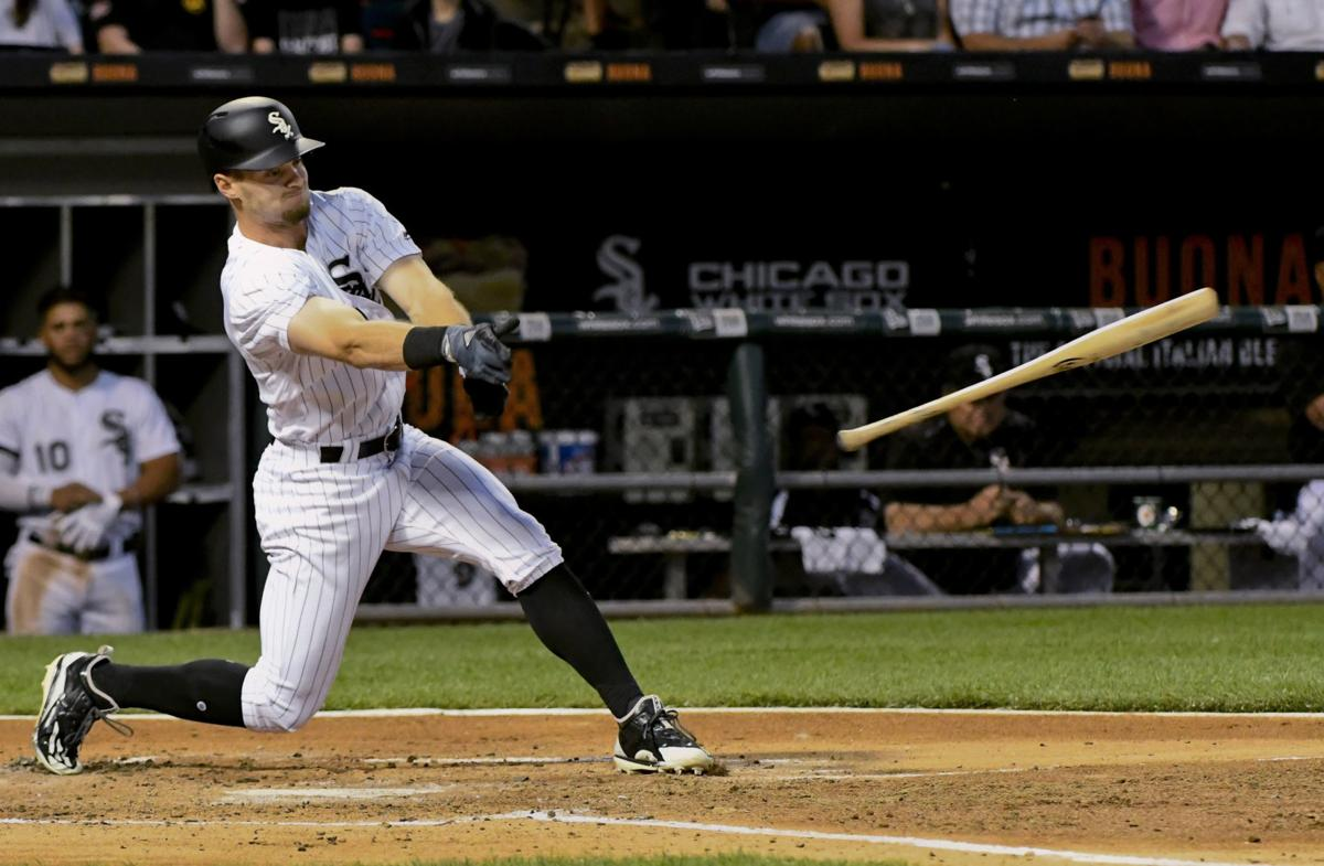 Adam Engel batting, AP photo