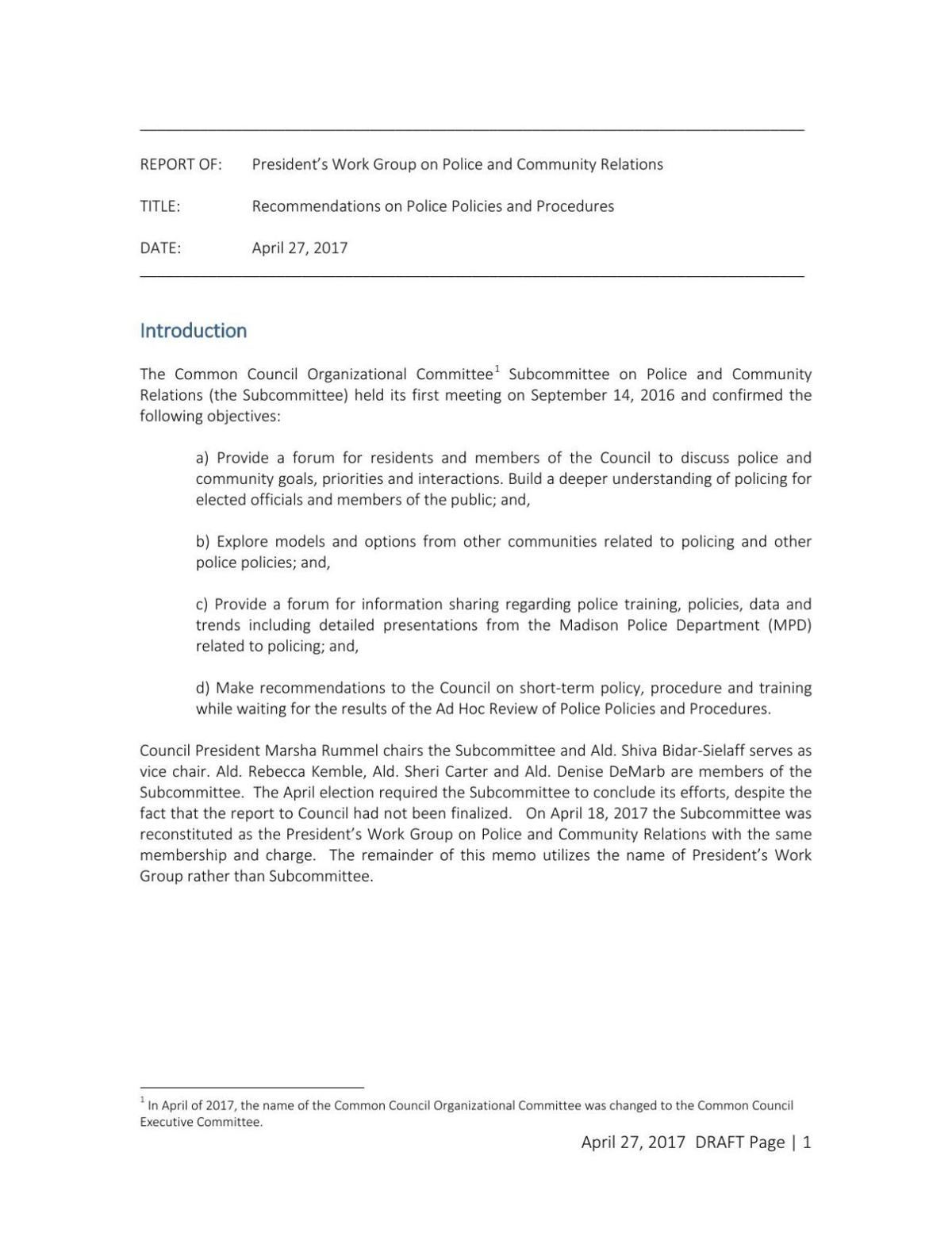 Police Community Relations draft report