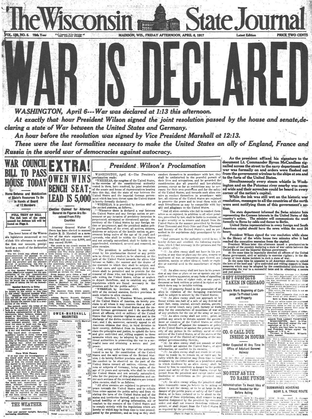 Wisconsin State Journal front page 4/6/1917