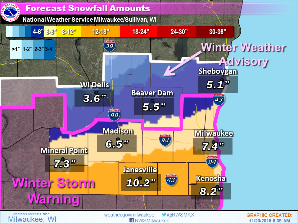 Snowstorm Expected To Dump 4 To 6 Inches In Madison Friday