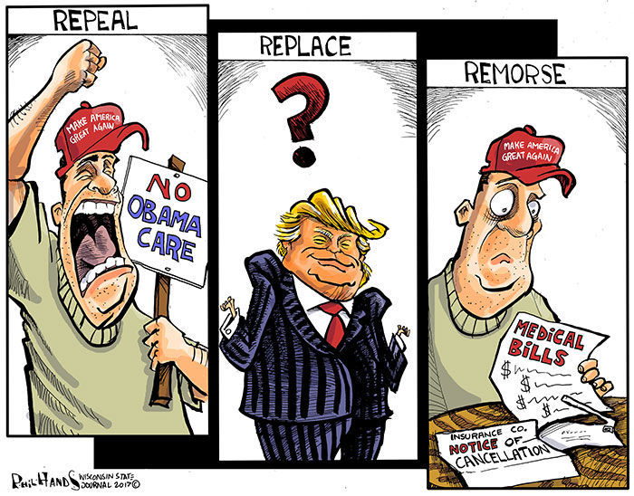 Image result for cartoons on trump against obamacare