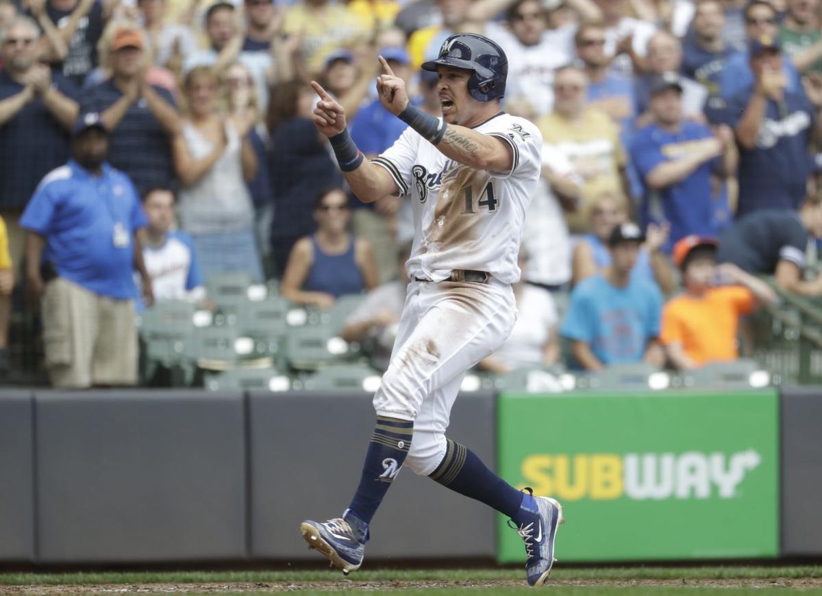 Hernan Perez, Brewers win, AP photo