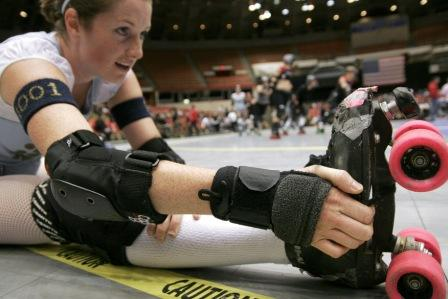 Roller Derby Girl Stretching