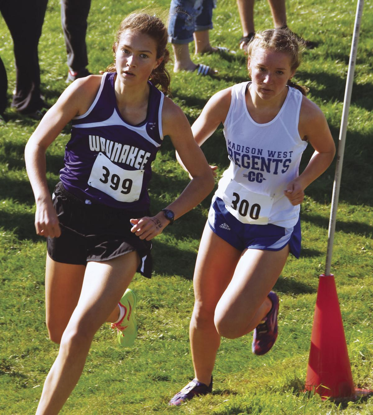 Prep girls cross country photo: Waunakee's Reagan Hoopes and Madison West's Vivian Hacker