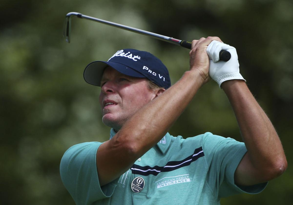 Steve Stricker hits at British Open, AP photo