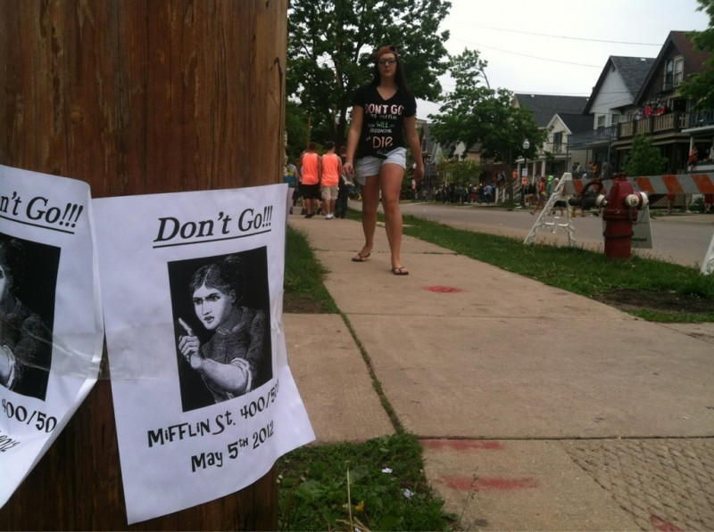 "mifflin street block party ""don't go"" leaflet 5/5/12"