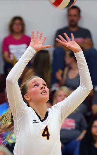 Prep girls volleyball photo: Waterloo senior Claire Mosher