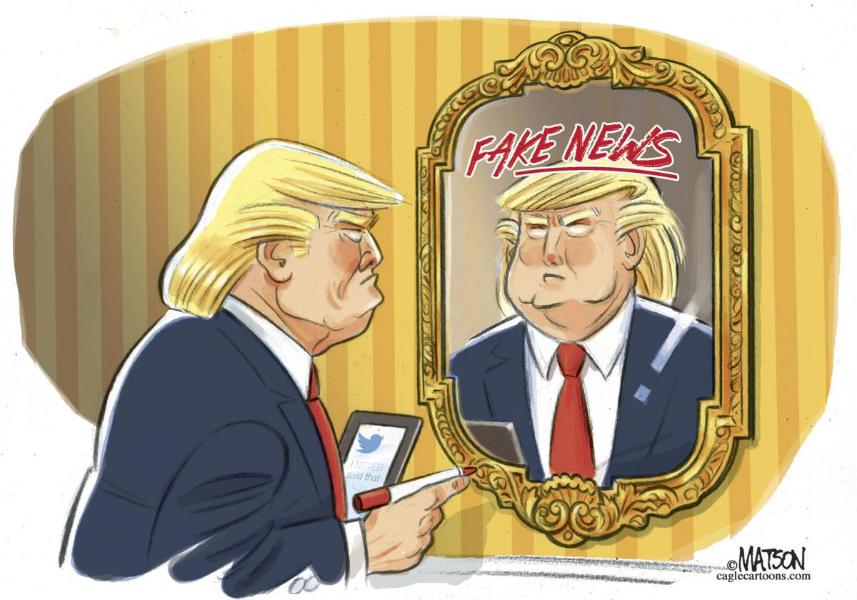 Image result for trump fake news cartoon