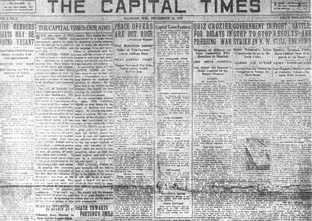 First edition of the Cap Times — December 13, 1917