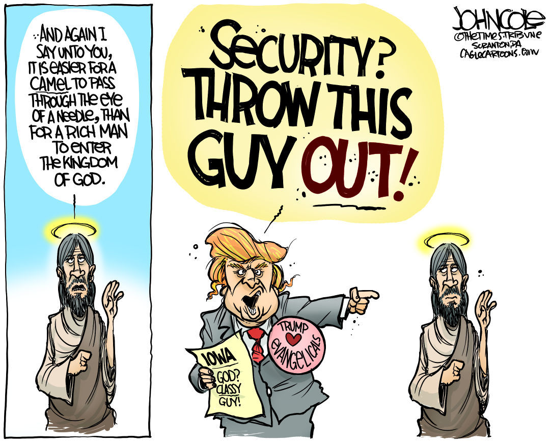 Image result for cartoons about evangelical support of trump