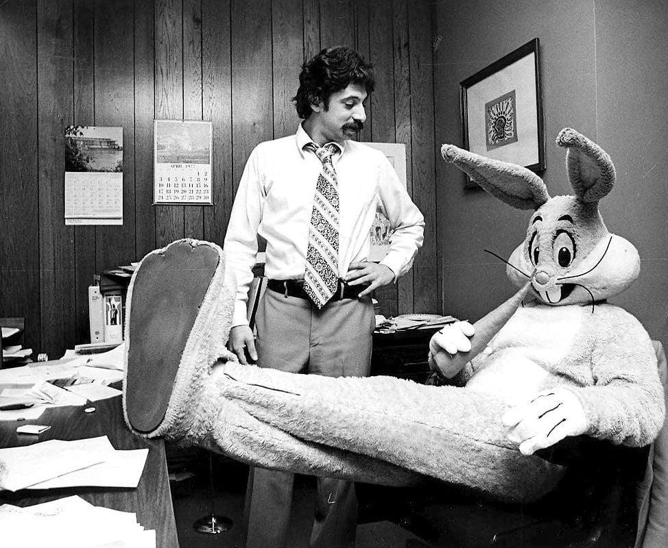 Mayor Paul Soglin and Bugs Bunny in 1977