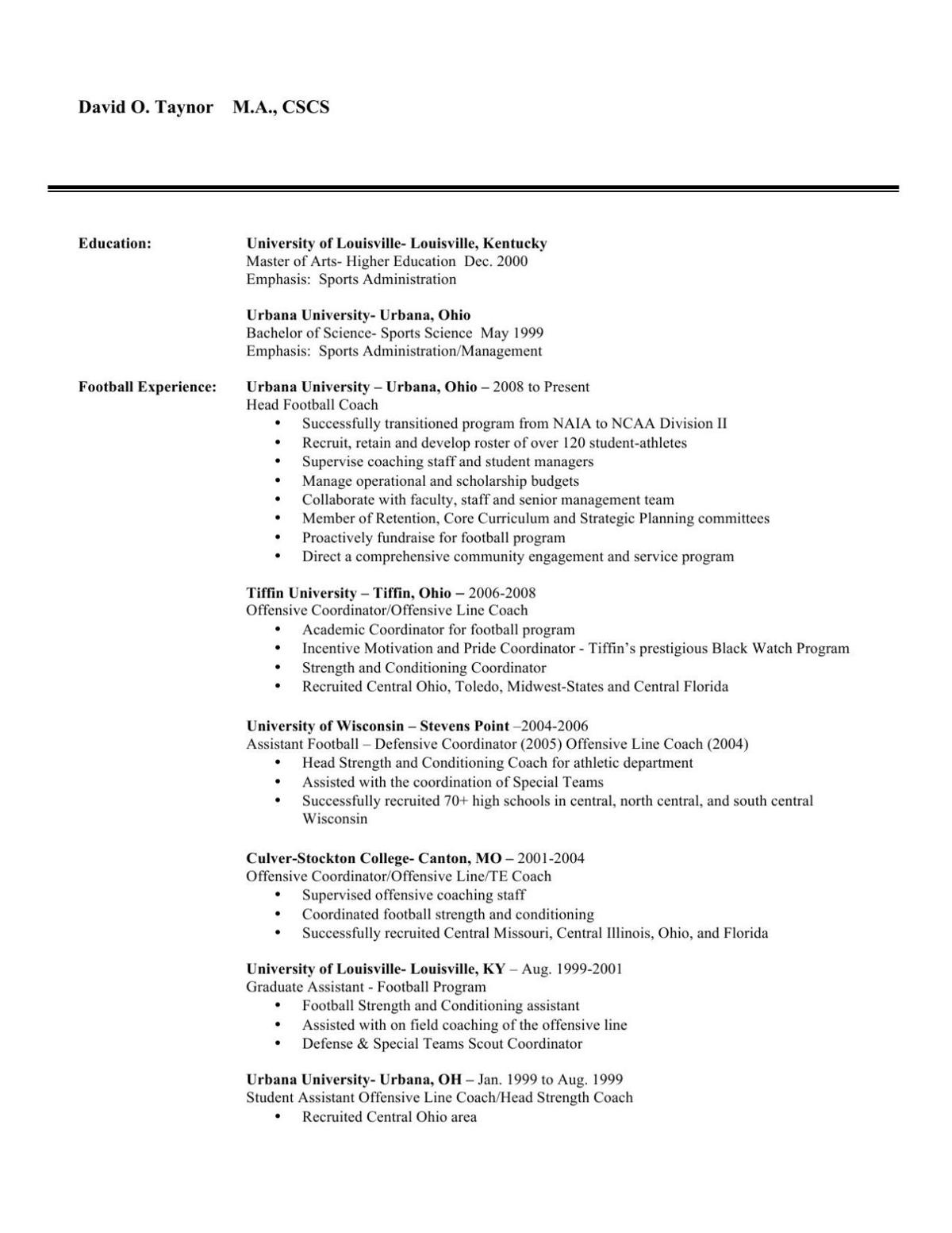david taynor  resume for uw