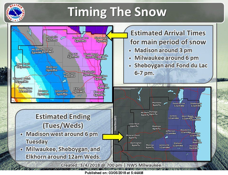 National Weather Service storm timing 3-5-18