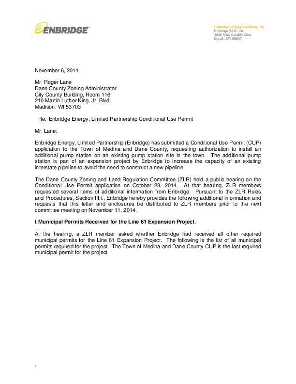 Nov. 6 letter from Enbridge