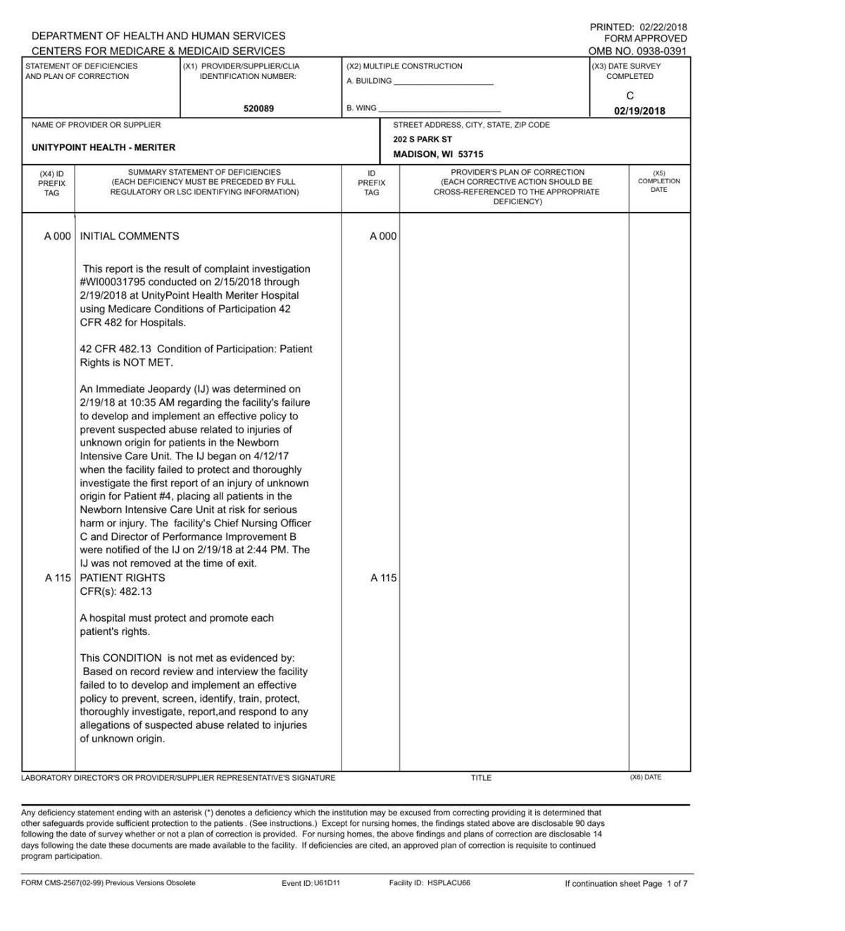 Meriter inspection report