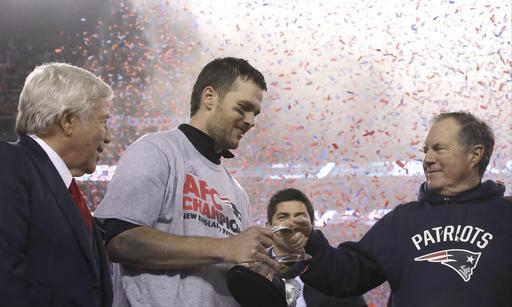 Robert Kraft, Tom Brady, Bill Belichick, AFC trophy, AP photo