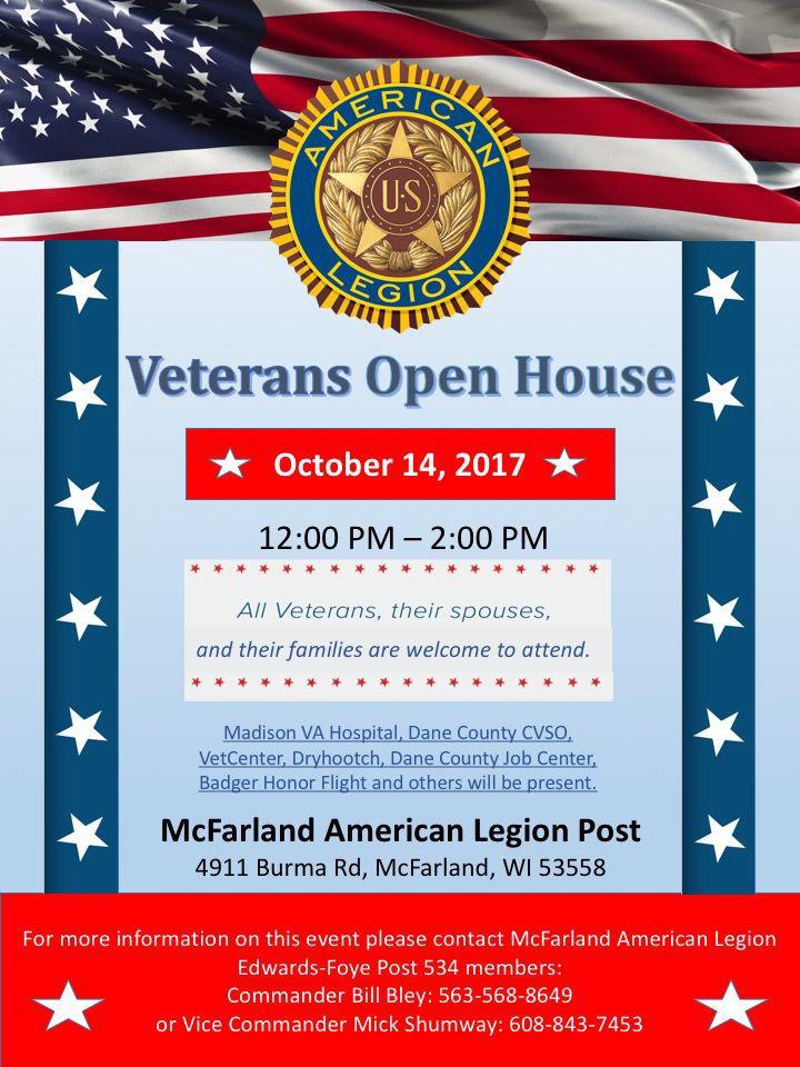 Veterans Open House Flyer MCFARLAND AMERICAN LEGION