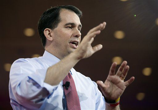 Scott Walker speaking at CPAC 2015, AP photo