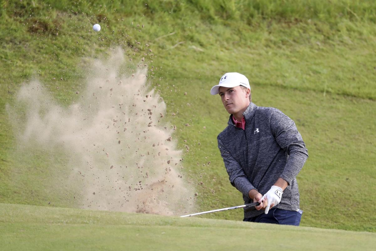 Jordan Spieth out of sand at British Open, AP photo