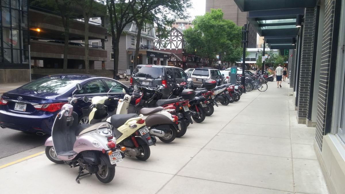 Mopeds parked on the terrace