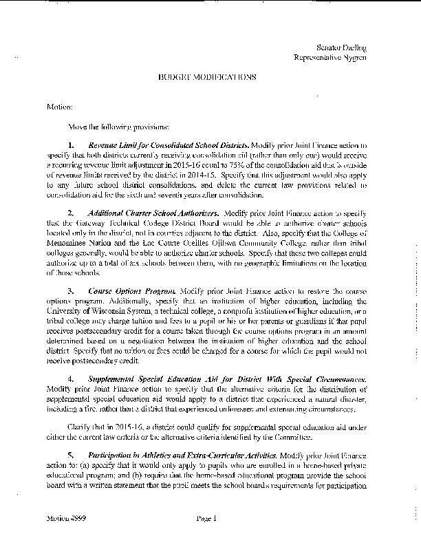 Omnibus budget motion