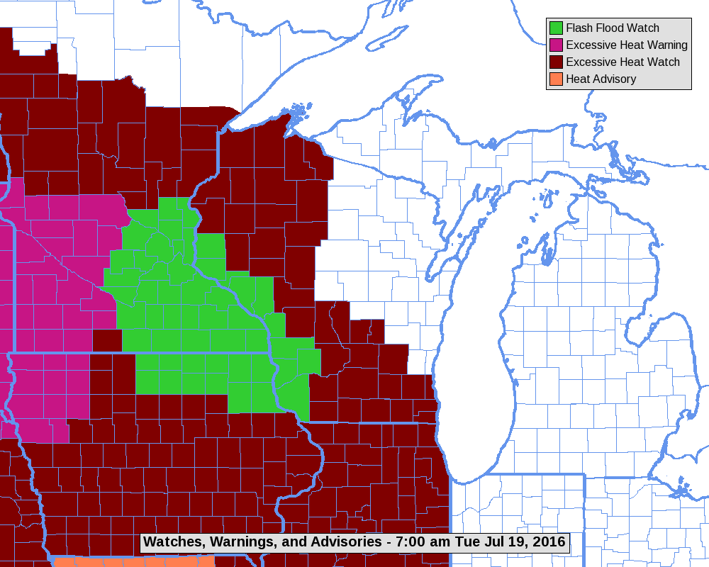 Excessive heat watch issued for southern Wisconsin for Thursday
