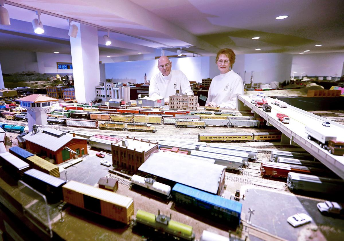 Bill and Rose Weber with their model train layout