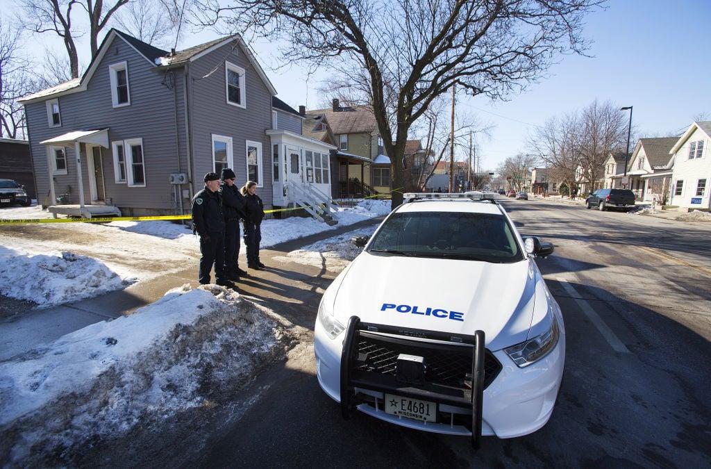 Police outside Robinson shooting scene