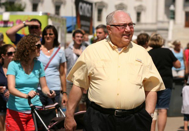 Bishop Robert Morlino takes in Art Fair on the Square
