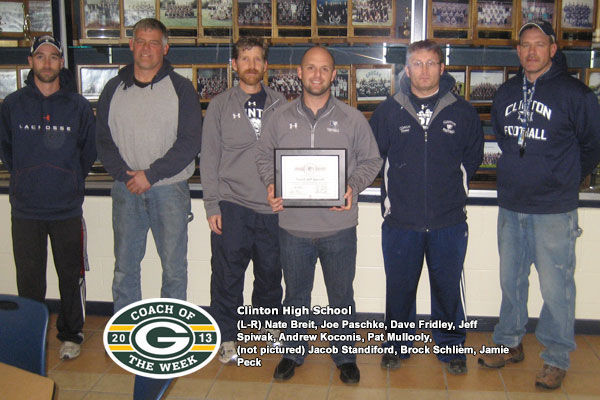 Prep sports photo: Jeff Spiwak accepting his 2013 Green Bay Packers Coach of the Week award