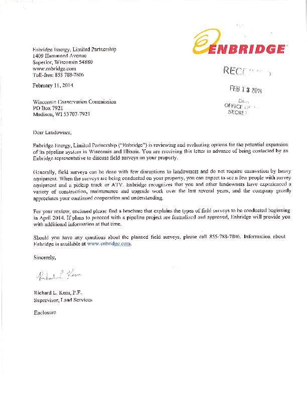 Enbridge 2014 letter to landowner on Line 66 survey