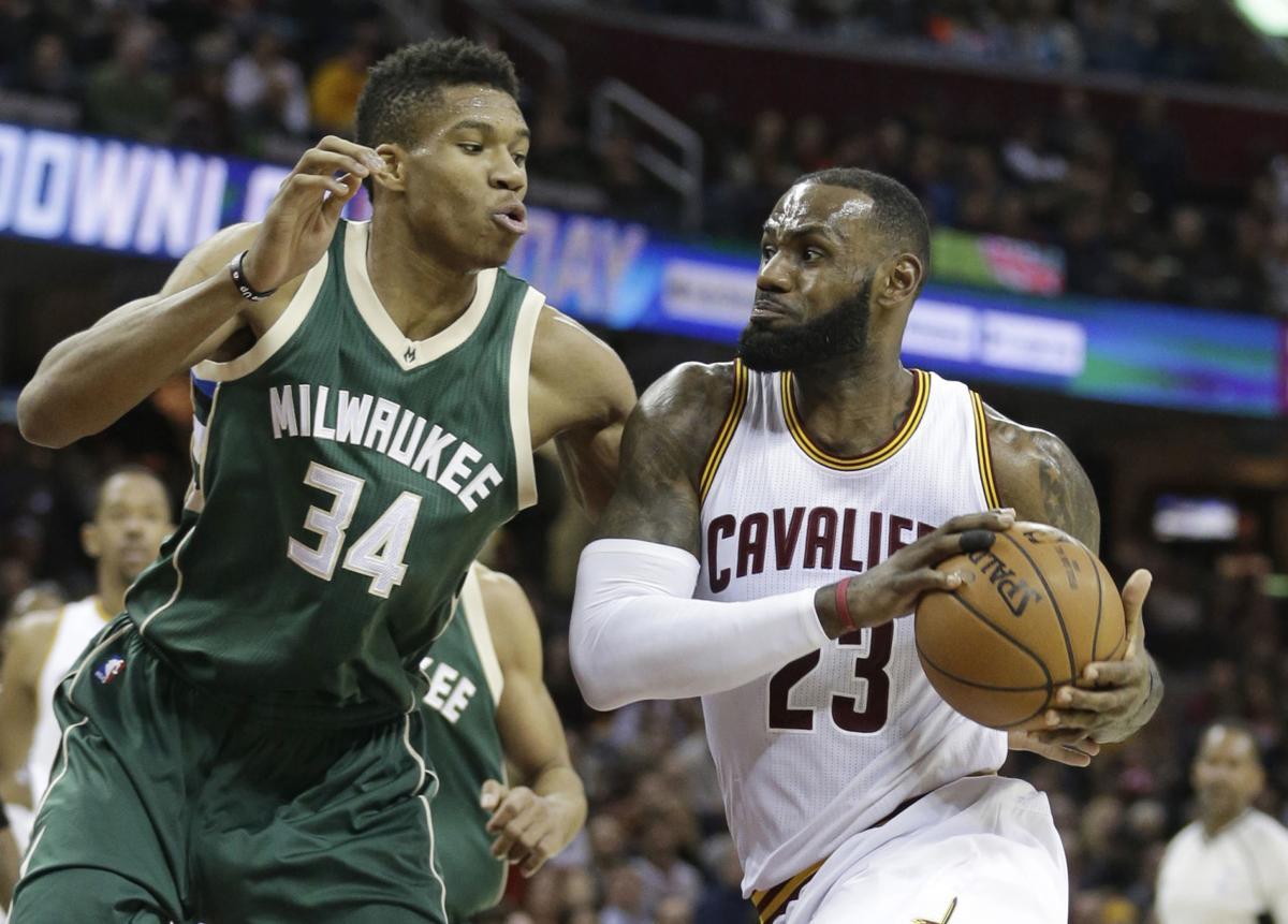 LeBron James, Giannis Antetokounmpo, 2016 AP photo