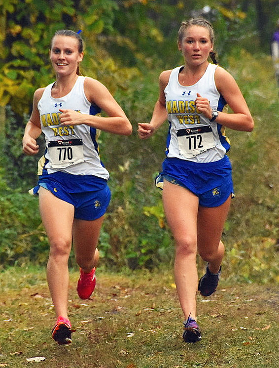 Prep girls cross country photo: Madison West's Vivian Hacker and Andi Bowman