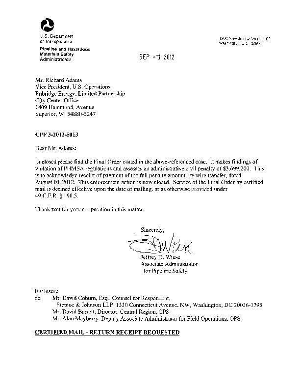 Final PHMSA order on Enbridge Michigan spill