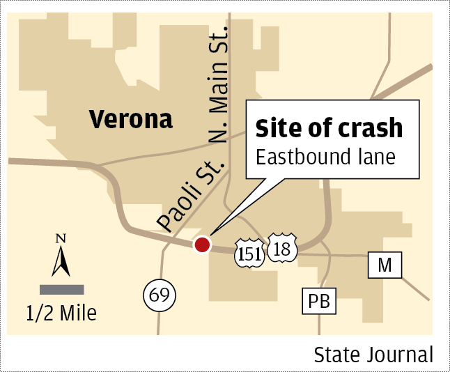 Verona highway crash map