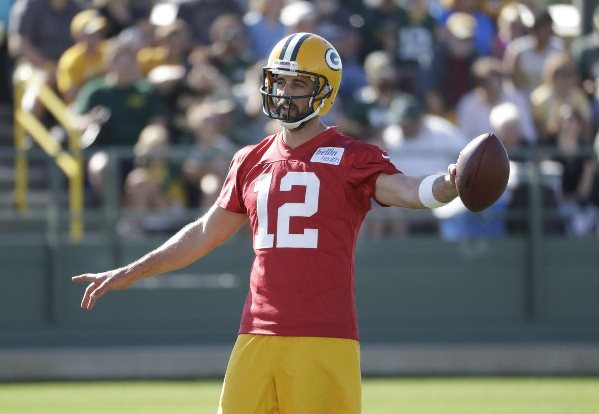 Aaron Rodgers during a practice, AP photo