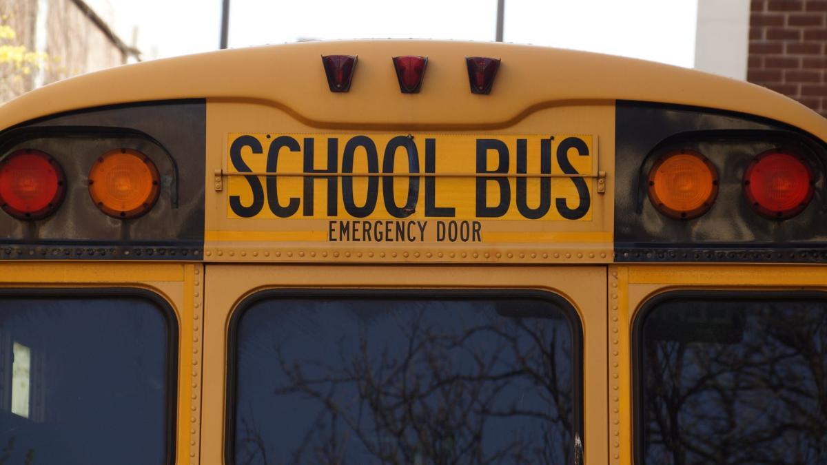school bus detail emergency door stock file photo