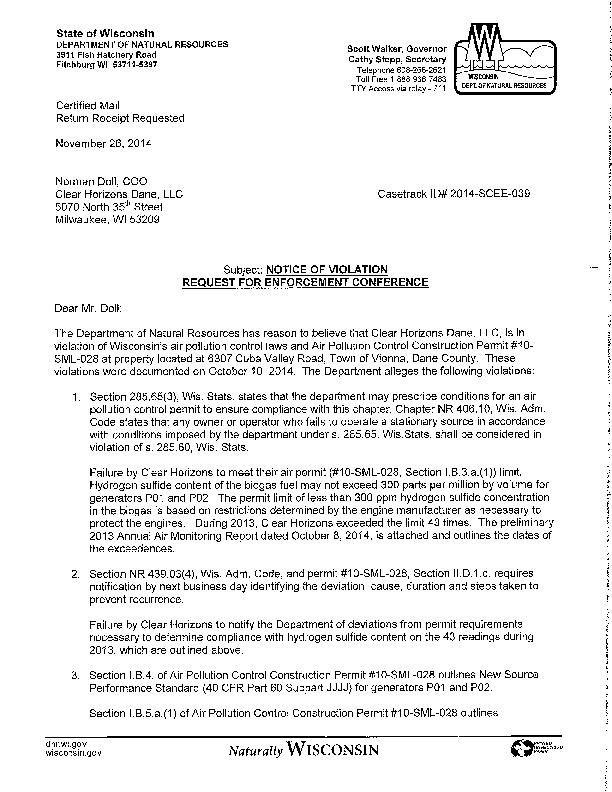 DNR air emissions notification