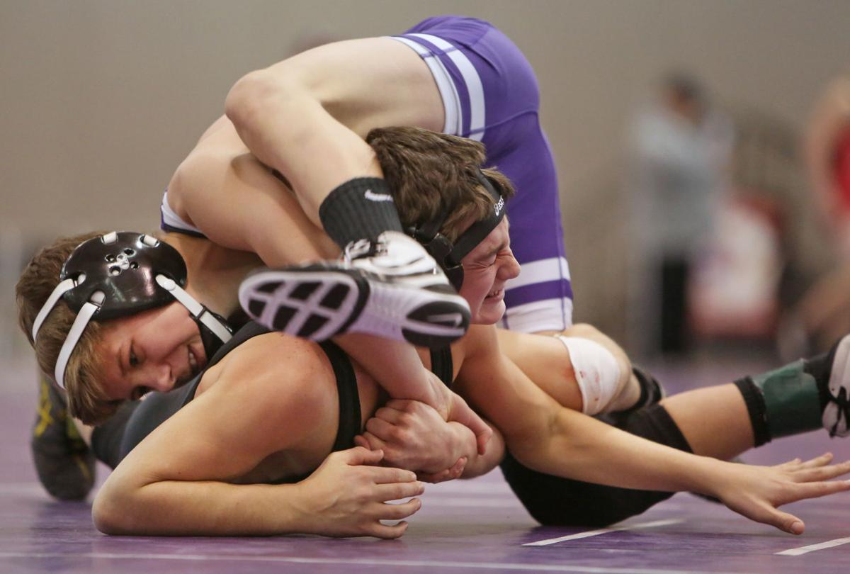 Prep wrestling photo: Stoughton's Hunter Lewis and East Troy's Tommy Larson