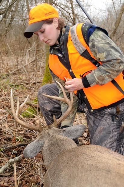 Leah Durkin and a buck