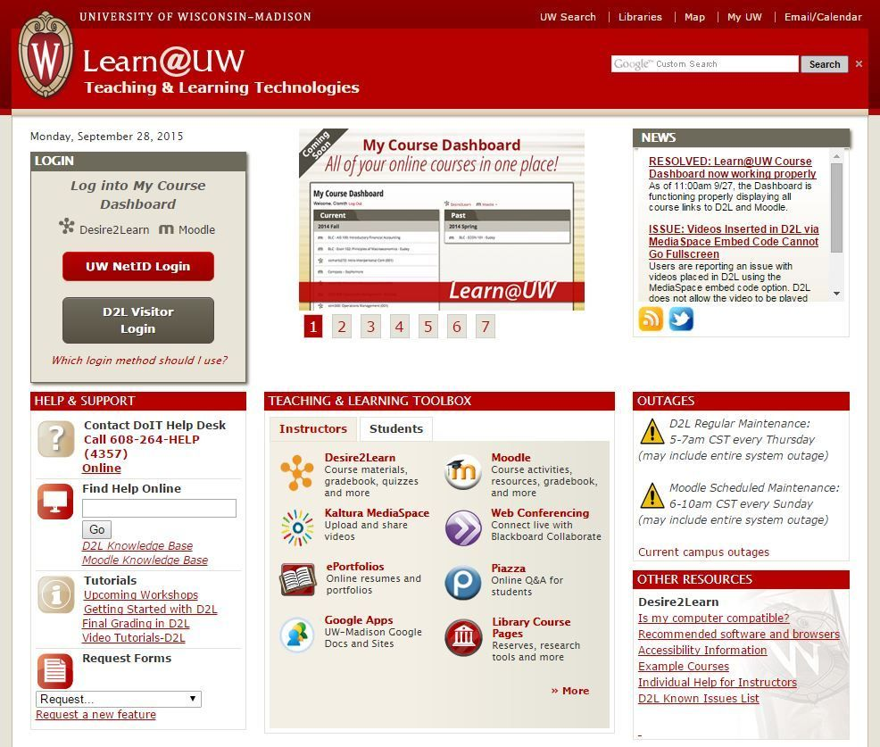 The Learn Uw Website Was One Of Several Campus It Services Brought Down By An Outage Over Weekend