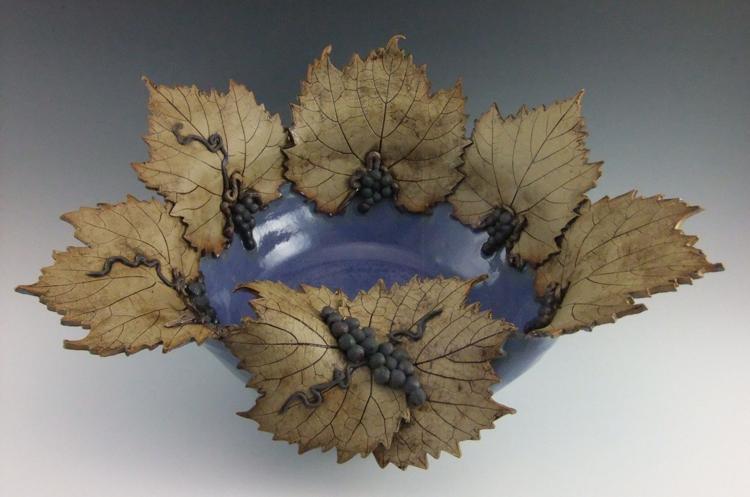 Grape leaf signature bowl MARJORIE KING STUDIO