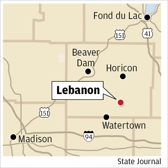 Lebanon Wisconsin map