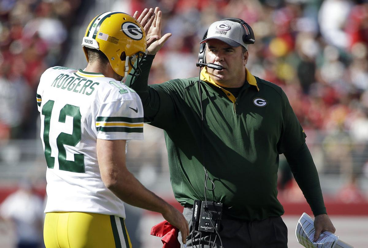 Aaron Rodgers Mike McCarthy Celebrate AP Photo